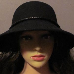 Black Wool Wide Brim Braided Detail Hat